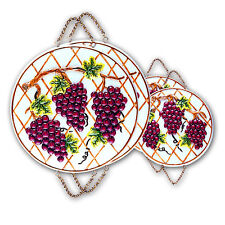 Grape Ceramic 4 PC Stove Burner Cover / Wall Decor Set #6241