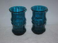 BLENKO GLASS,  BAMBOO VASES (2), #7727, BLUE  --   DESIGNED BY DON SHEPHERD