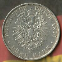 1876 German States of SAXONY-ALBERTINE- 5 Mark- 90% AG- 635,240 Minted Only~