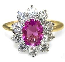 2.50ct Natural Pink Sapphire, F VS Diamond & 18ct Yellow Gold Engagement Ring