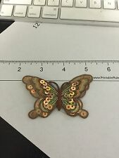 Brown and Gold Sequin Butterfly Iron on Applique, Lot of 2
