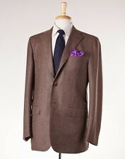 NWT $8495 KITON Heather Brown Twill Wool-Cashmere Suit 42 L (Eu 52) Modern-Fit