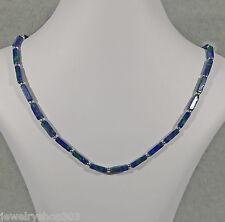 "Genuine Malachite/Azurite & Sterling Bead Necklace 4x12 mm Square 19"" Length"