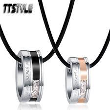 TTstyle Rose Gold/Black S.Steel Oval Pendant Necklace For Couple Set LOVE
