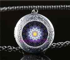 Mandala Photo Cabochon Glass Tibet Silver Locket Pendant Necklace