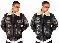 Aviatrix Mens Boys US Air Force Pilot Flying Bomber Leather Jacket Black Brown