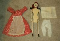 "Vintage Otis Lael 18"" Folk-Art Wood Peg Doll Original Dress Hand Crafted   OOAK"