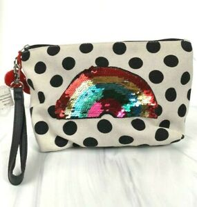 No Boundaries Small Rainbow and Polka Dots Sequin Wristlet Pouch, NWT