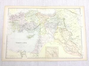 1888 Antique Map of Turkey in Asia The Turkish Empire 19th Century Blackie & Son