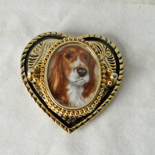 VINTAGE 1970s HEART SHAPE with Picture of a Spaniel BELT BUCKLE