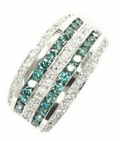 1.8 ct tw Natural Blue & White Diamond Solid 14k White Gold Wide 11 mm Band Ring