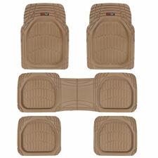 3 Row Rubber SUV VAN Car Floor Mats Deep Dish All Weather Heavy Duty Beige 5pc