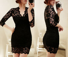 Women's Long Sleeve Polo Neck Sexy Clubwear Party Cocktail Lace Mini Dress