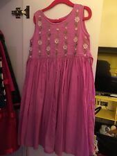 Monsoon Girls Dress Age  4-5 Years Pink Long 100% Cotton