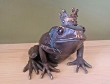 Frog Prince Wearing Crown Bronze Effect Garden Pond Decoration Ornament NEW