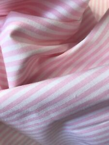 Pink & white stripe cotton dress/craft fabric (IDEAL FOR FACE MASKS)