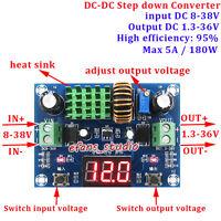Digital LED DC-DC Buck Converter 8-38V To 5V 9V 12V 19V 24V 36V 5A Power Supply