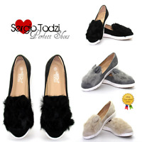 New Womens Ladies Rabbit Pom Pom Casual Shoes Trainers Pumps Slip On Sneakers