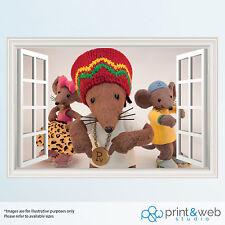Rasta Mouse 3D Window View Decal Wall Sticker Home Decor Art Kids