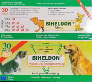 Biheldon 30 compresse, vermifugo,sverminazione,vermicida,wormer per cani e gatti