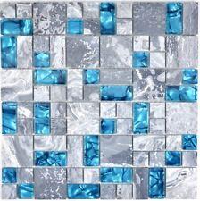 Mosaïque translucide combinaison verre pierre gris bleu mur 88-0404_f |10plaques