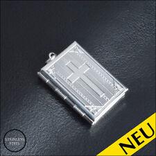 NEU 🌸 Edelstahl XL SILBER Medaillon AMULETT zum öffnen FOTO Halskette 🌸 Kreuz