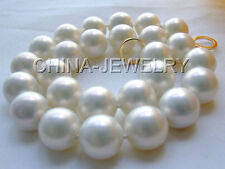 "P867-21"" 18mm natural white south sea shell pearl necklace-14k gold filled clasp"