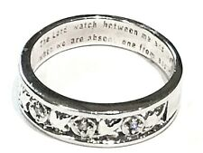 Ladies Silver Tone The Lord Watch Between Thee & Me Message Ring Size N 1/2