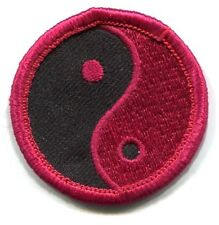 """YIN YANG hot pink & black EMBROIDERED PATCH **FREE SHIPPING** 1.5"""""""