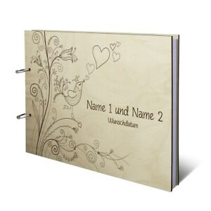 Hochzeit Gästebuch Birke Holzcover Gravur individuell A4 quer - Liebesbaum