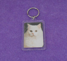 LONG HAIRED WHITE CAT KEY CHAIN - PHOTO IN PLASTIC CASE