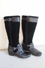 Nice Women's soft  Black Leather and Suede Clarks wedge  Boots size US 11
