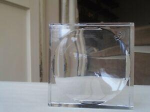 Stylish signed BACCARAT square glass ashtray / dish  MODERNIST FRENCH ART GLASS