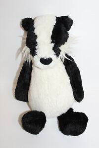 Retired Jellycat Bertie Badger Plush Stuffed Animal Black White Soft Toy Lovable