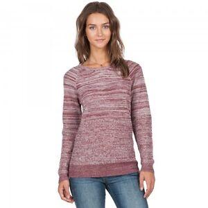 NWT WOMEN VOLCOM CRUISIN ON CREW SWEATER $50 S crimson contrast knit