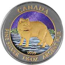 2014 1.5 Oz Ounce Canadian Silver Arctic Fox Coin .9999 Ruthenium and Gold Night