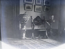 Antique Glass Plate Photograph Negative - Victorian Jardinieres & Chair