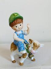 John Deere Boy Figure Cow Moo-vin Right Along Porcelain