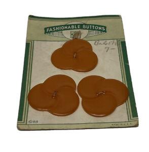 "Lot 3 ""Fashionable Buttons"" Orange Flower Bakelite Buttons"