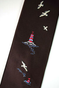 """Countess Mara Neck Tie 54 3/8"""" x 3.75"""" Vintage 50s Embroidered Light House NWOT"""