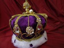 Child King Queen fancy dress imperial state crown metal purple theatre prop