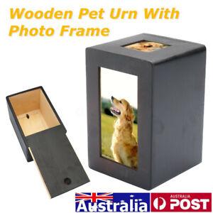 Memorial Photo Pet Dog Cat Cremation Urn Ash Wooden Sake Keep Box Storage AU
