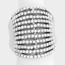 Cocktail Ring Silver Multi Row Rhinestone Pave Crystals Wide Stretch Evening