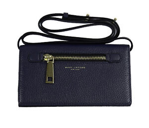 Marc Jacobs Gotham Wallet Leather Strap Crossbody in Midnight Blue