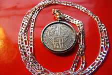 """Antique Classic Belgian Lion Coin Pendant on a 30"""" 925 Sterling Silver Chain."""