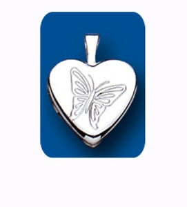 Small Butterfly Heart Locket Sterling Silver 925 Hallmark All Chain Lengths