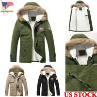 Mens Heavy Weight Fur Padded Warm Jacket Winter Coat Hood Long Zip Up Size S-3XL