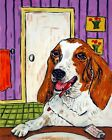 Basset hound brushing teeth bathroom  picture  DOG ART NOTE CARDS