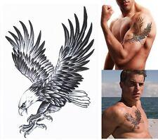 EAGLE TEMPORARY TATTOO - BLACK, BALD EAGLE, MENS, WOMENS, REALISTIC, FAKE /-b6-/