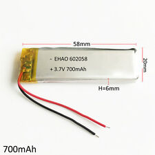 3.7V 700mAh Lipo Battery cells Li Polymer For MP3 GPS Recorder bluetooth 602058